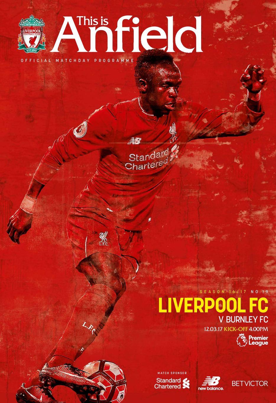 Liverpool FC v Burnley FC programme
