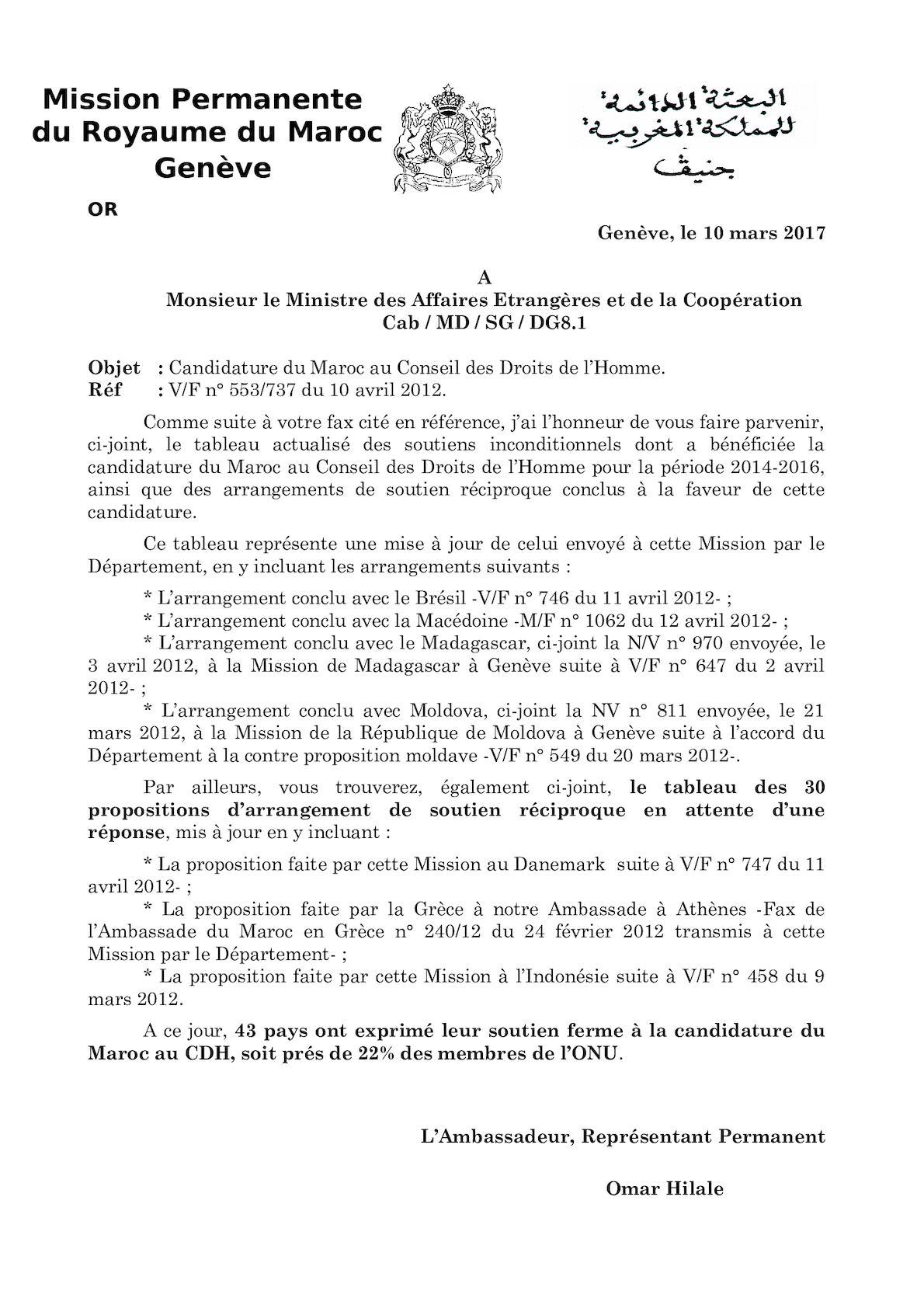 Fax Du 130412 - Tableau Réciprocités Candidature MAroc CDH