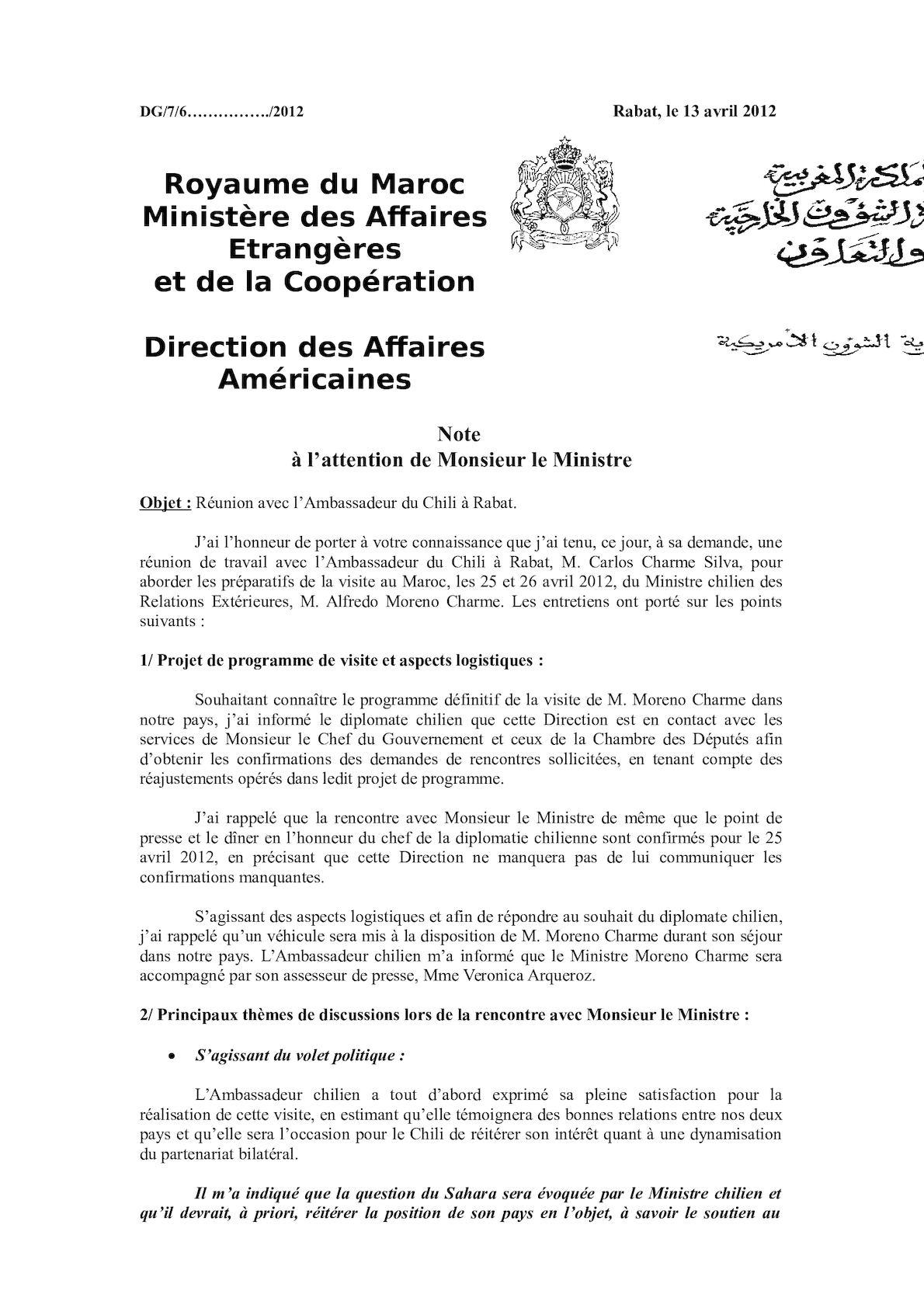 Compte Rendu Entretien Ambassadeur Chili 13 04 2012