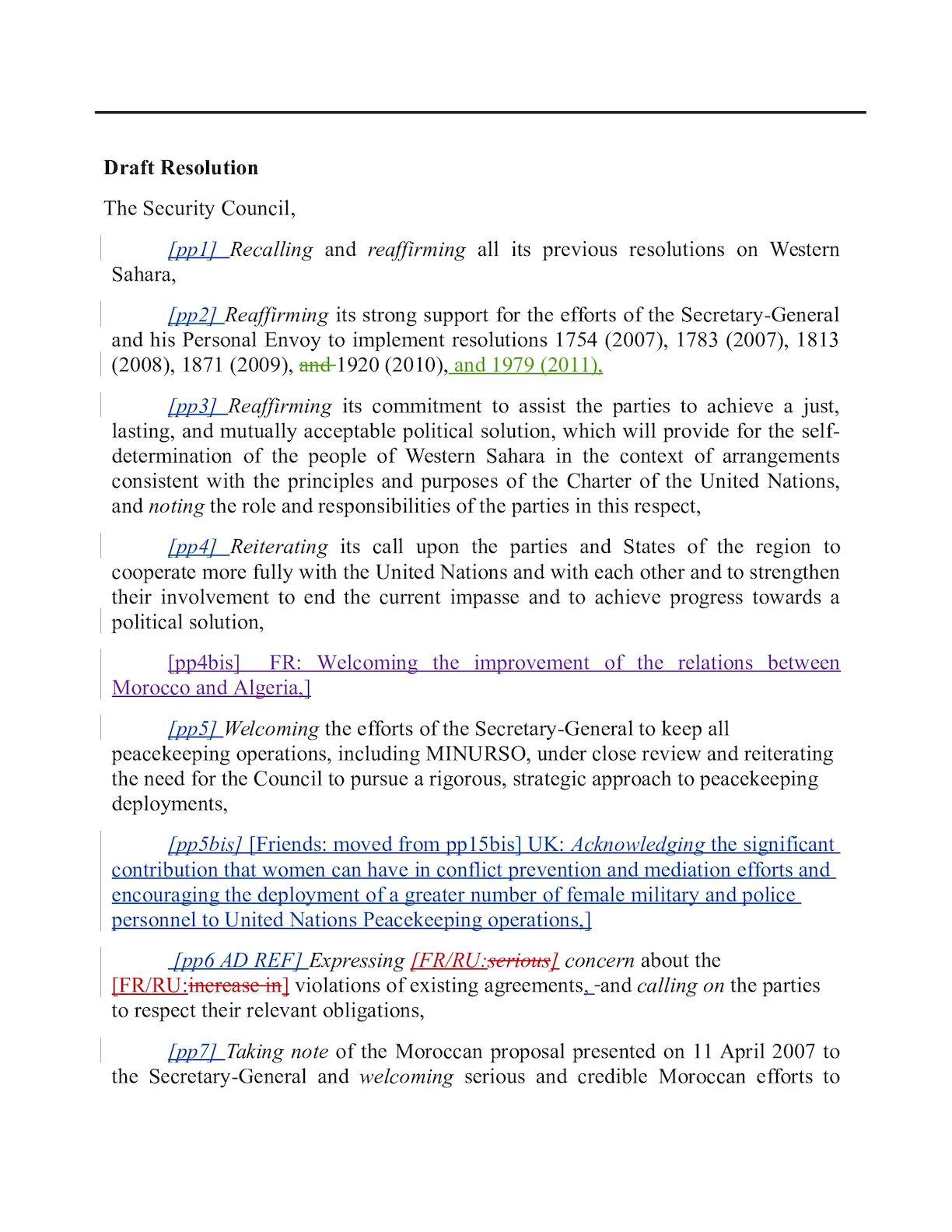 Projet Résolution Sahara Occidental 12 Avril 2012