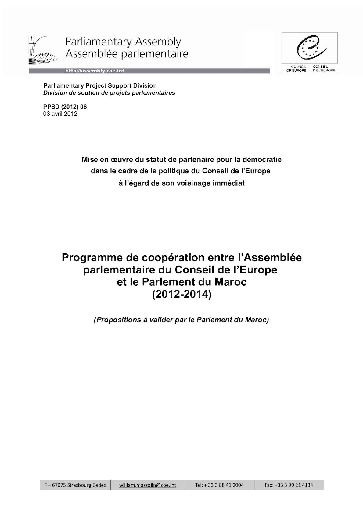 Programme De Coopération Avec Maroc
