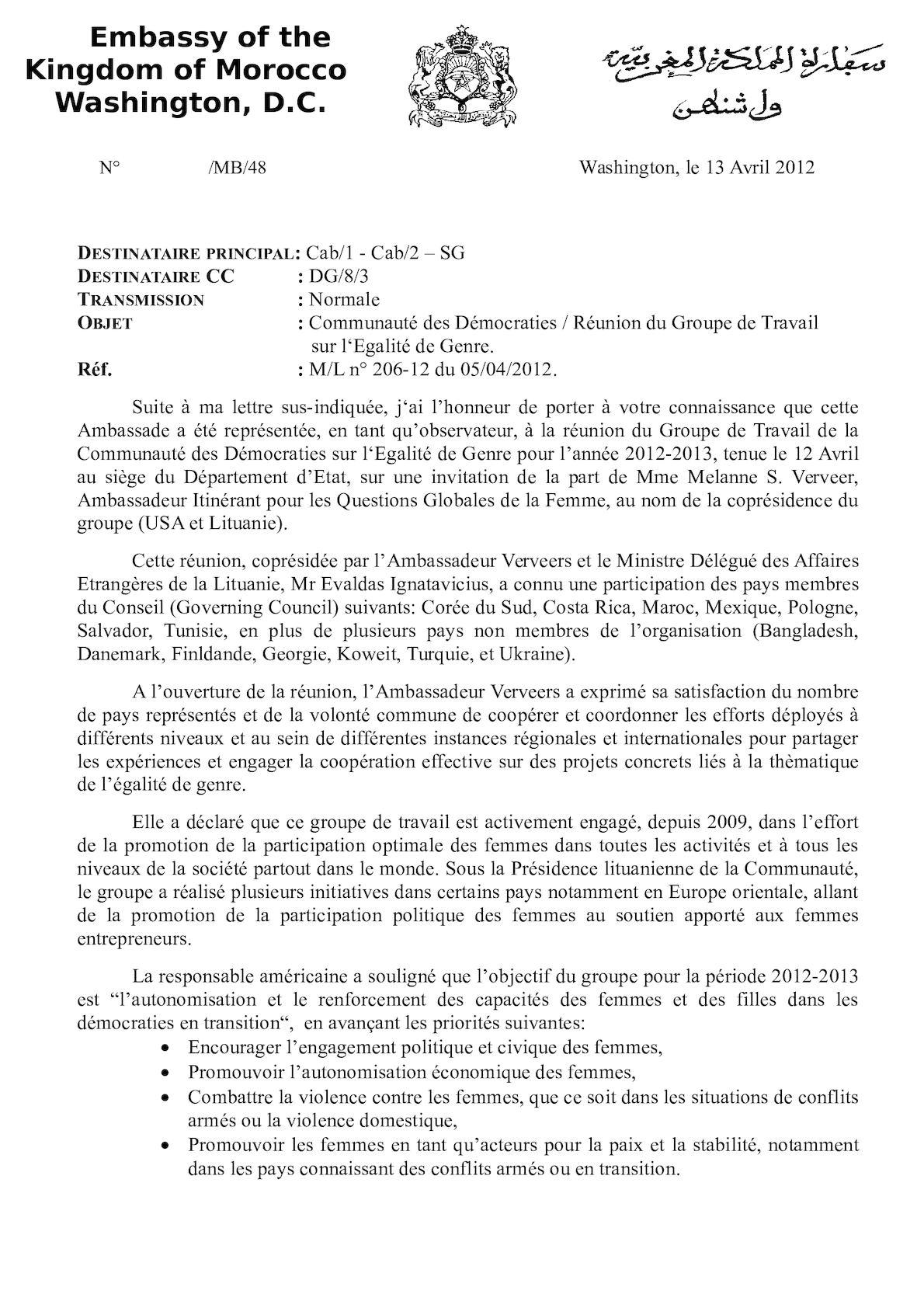 48 Co D Maroc Groupe Travail Egalité Genre 13 Avril 2012