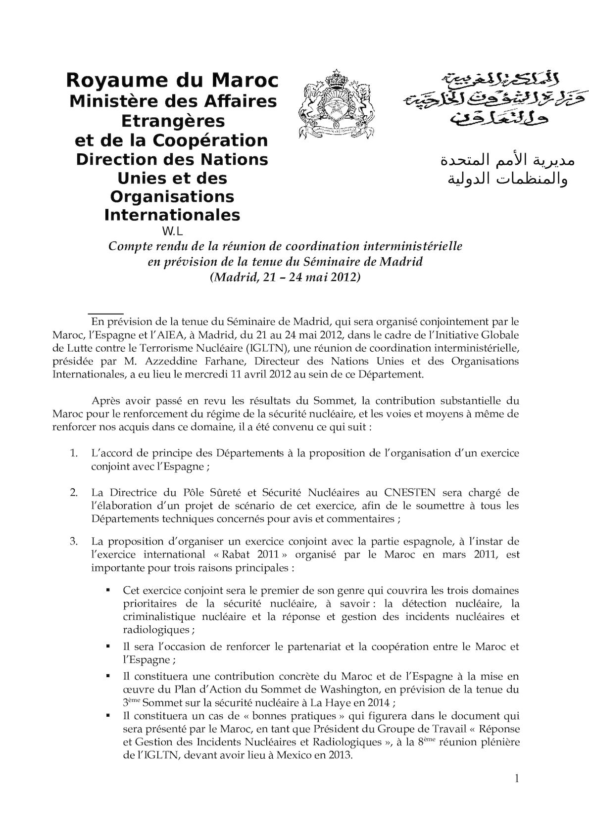 Compte Rendu Réunion Coordination Interministérille