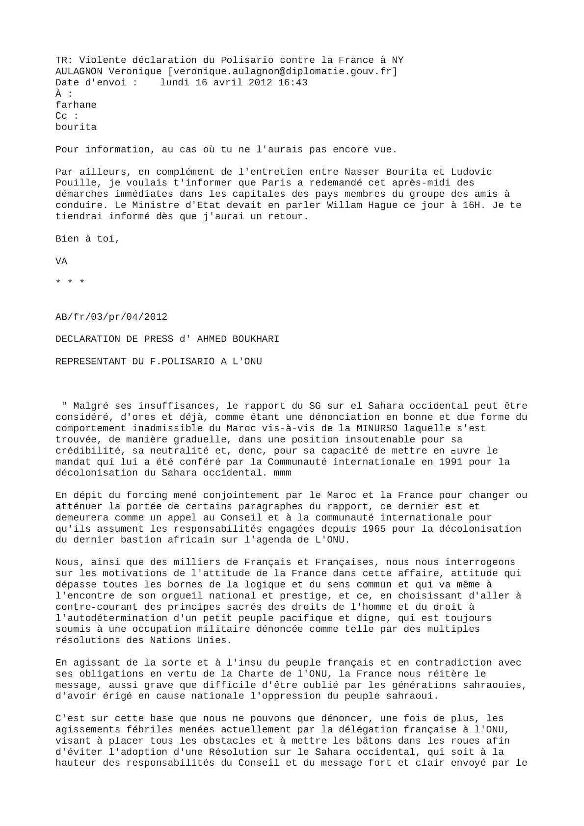 Déclaration Du Polisario