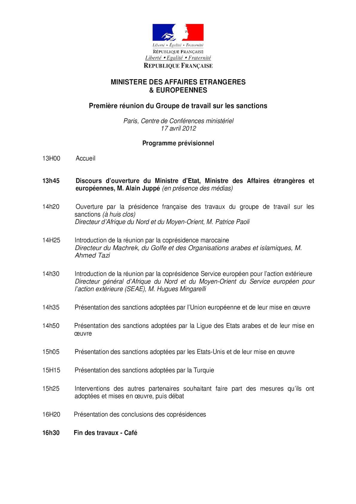 Programme Prévisionnel Groupe De Travail Sanctions