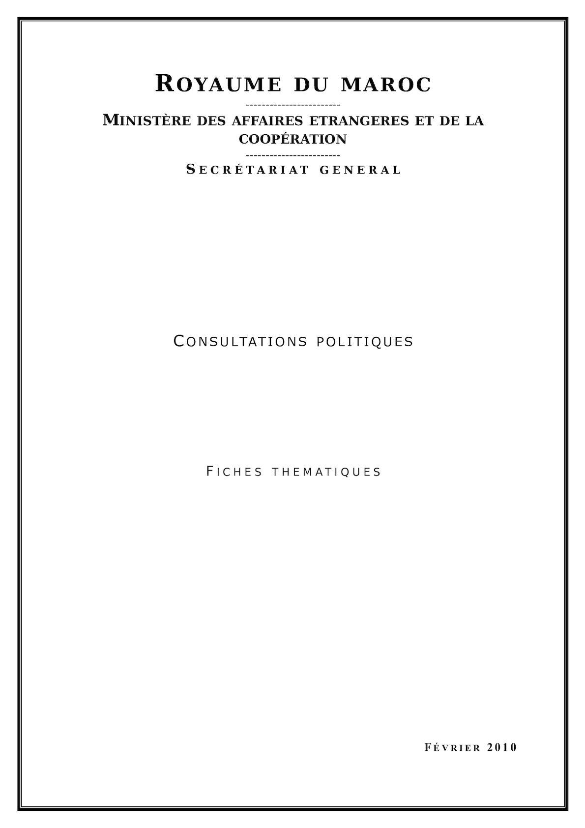 Sg Maec Fiches Des Consultations Politiques 2010 26 2 2010 Vf 1