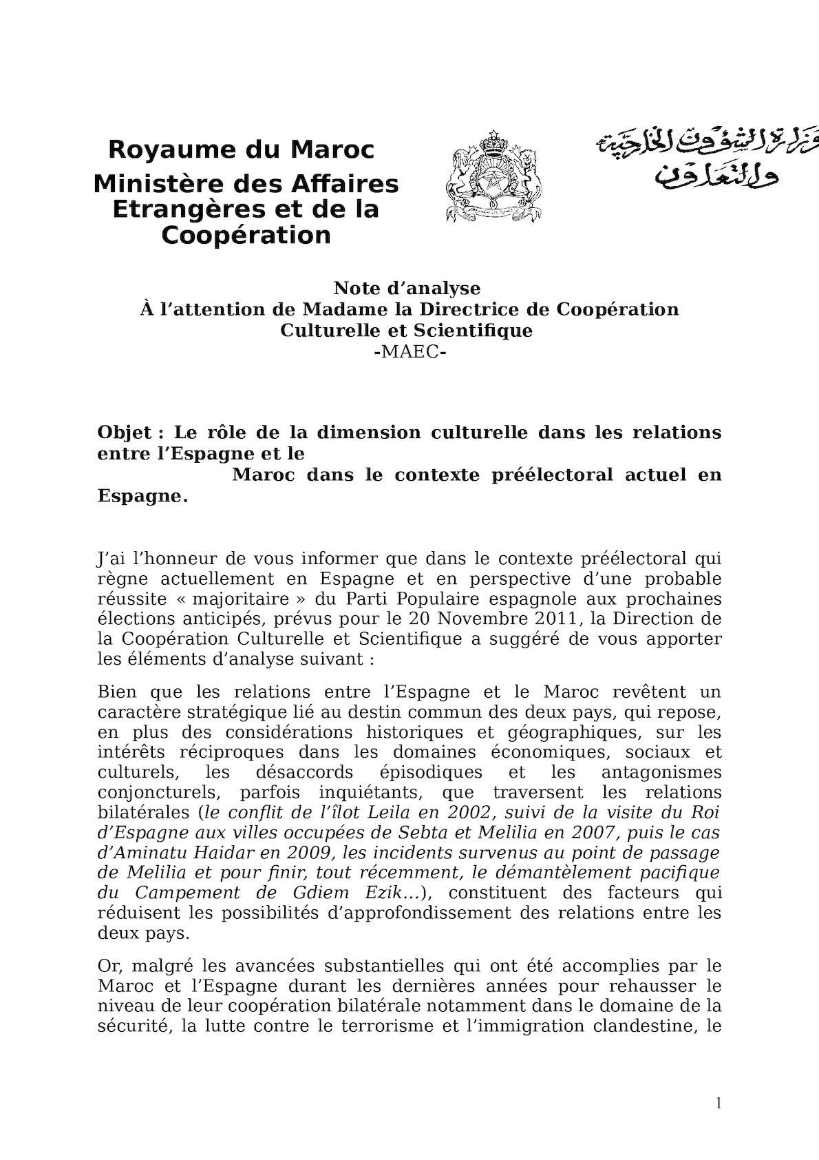 Elements D'analyse Et Propositions Et Recommandations Dimension Culturelle Espagne Maroc