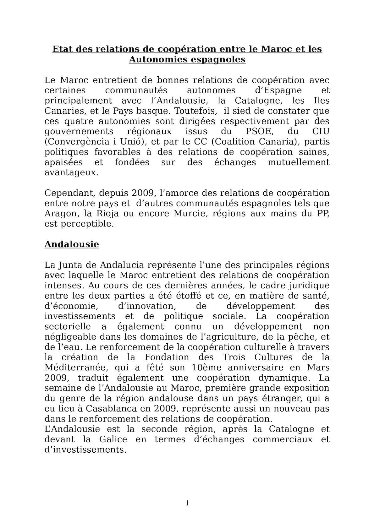 Etat Des Relations De Cooperation Maroc Autonomies Oct 11