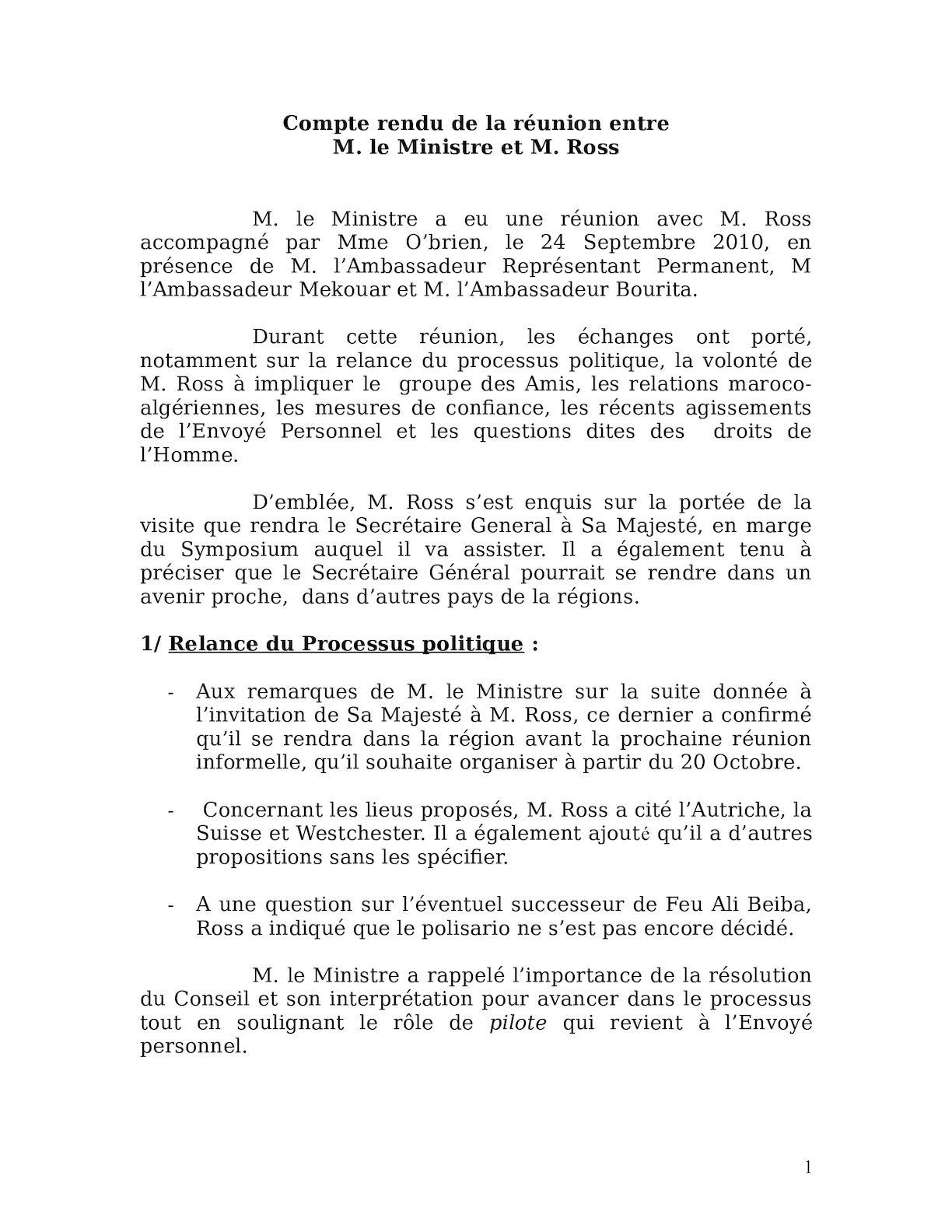 Compte Rendu De La Réunion Entre