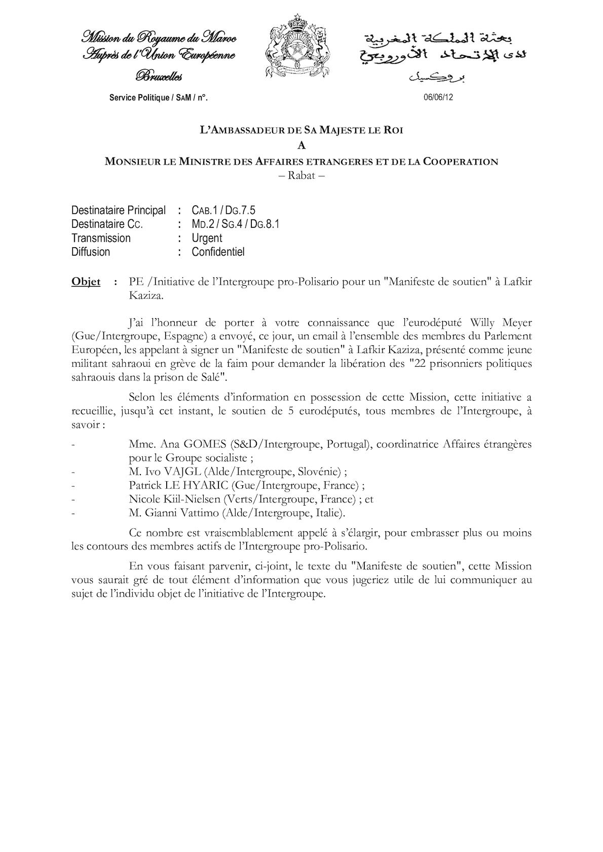 Initiative De L'intergroupe Pro Polisario Pour Un Manifeste De Soutien à Lafkir Kaziza