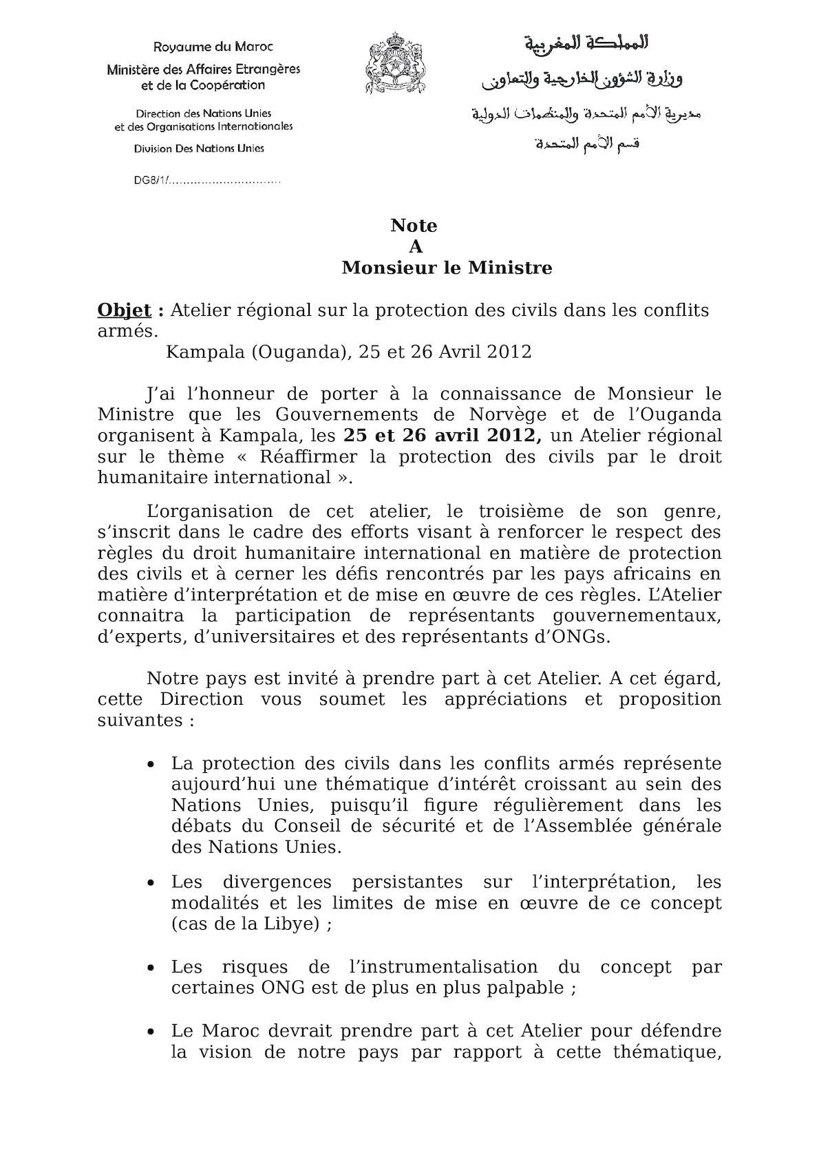Atelier Régional Sur La Protection Des Civils, 25 04 2012