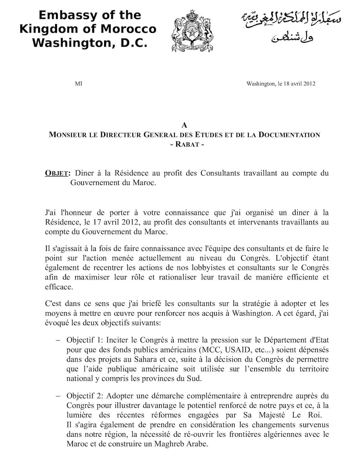 Diner à La Résidence Au Profit Des Consultants Travaillant Au Compte Du Gouvernement Du Royaume Du Maroc