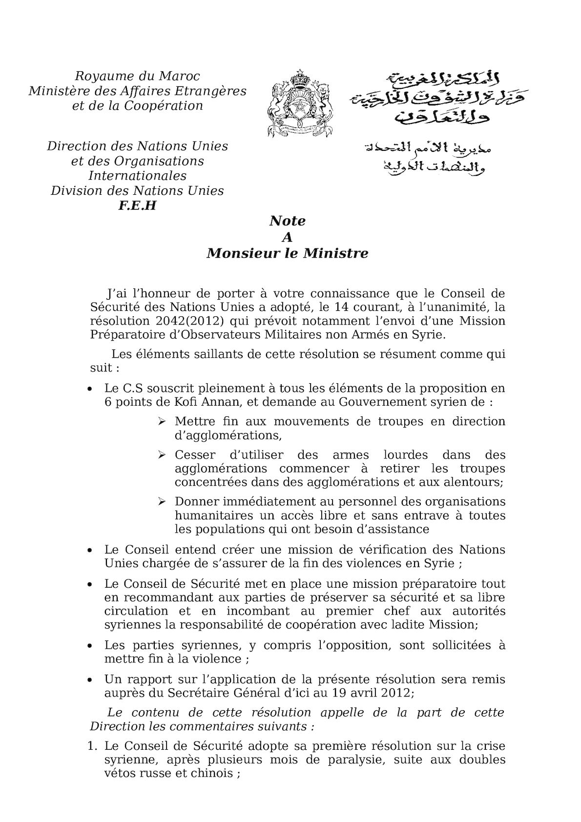 Note Syrie Avril 2012