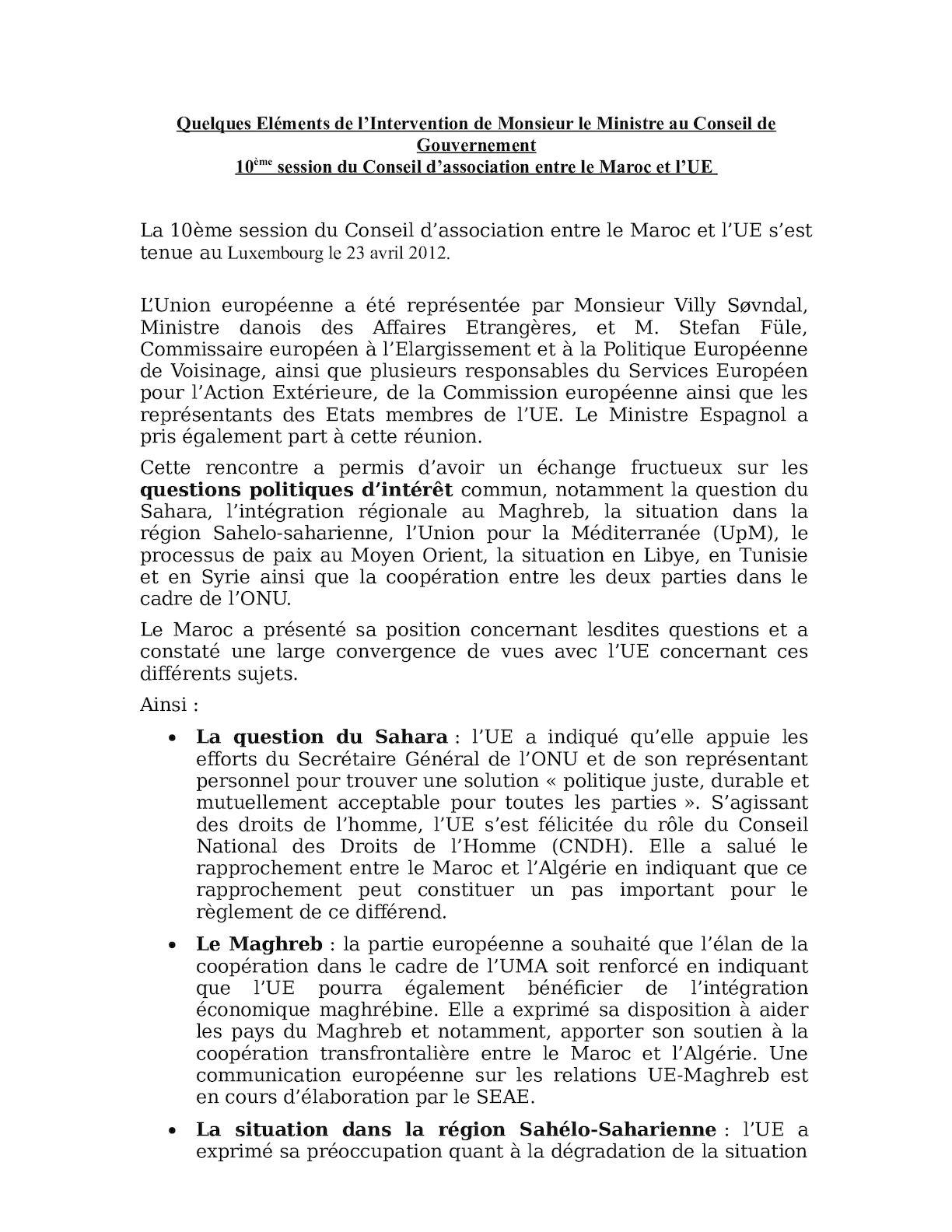 10ème Conseil D'association Maroc Ue