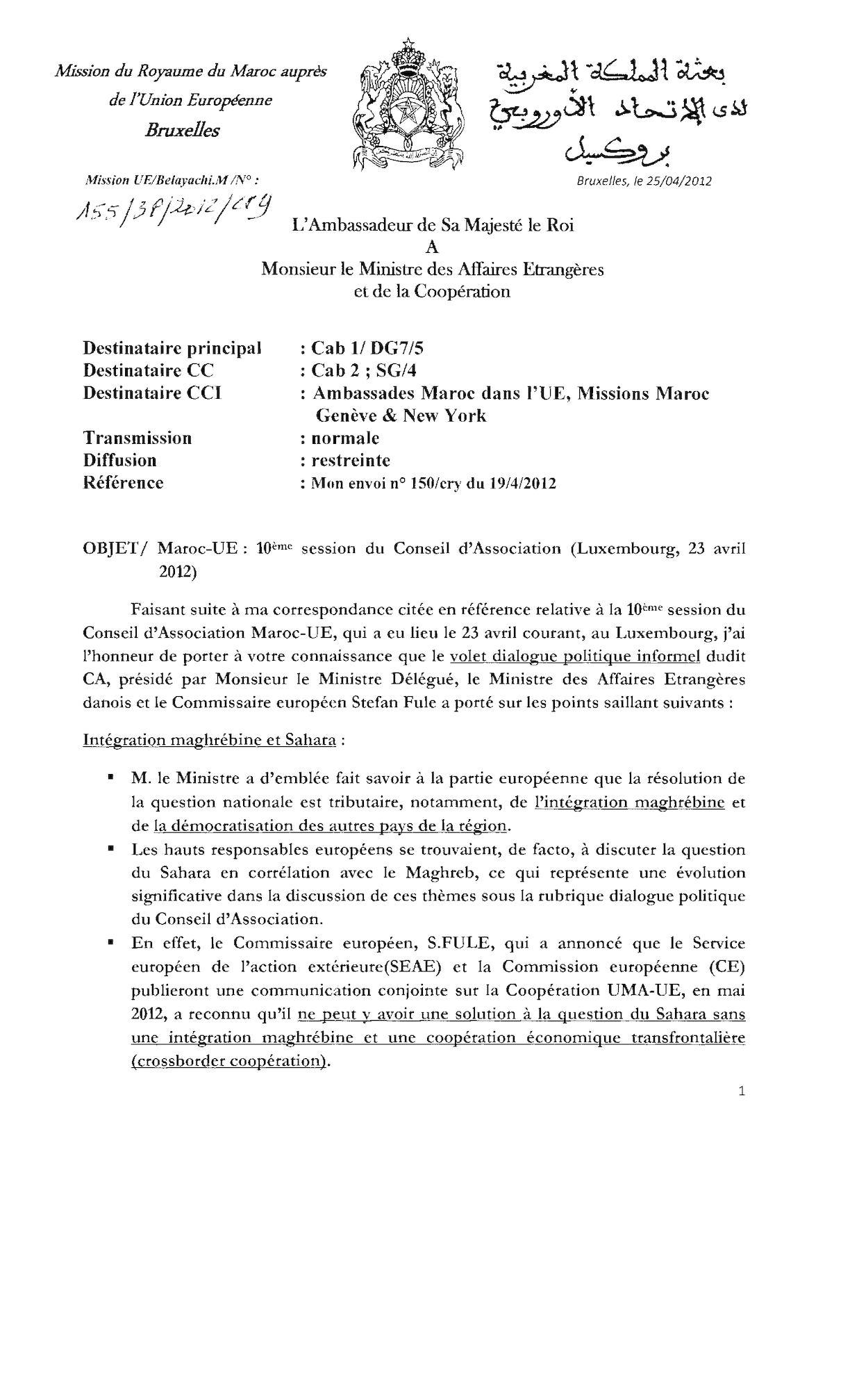 Maroc Ue 10ème Session Du Conseil
