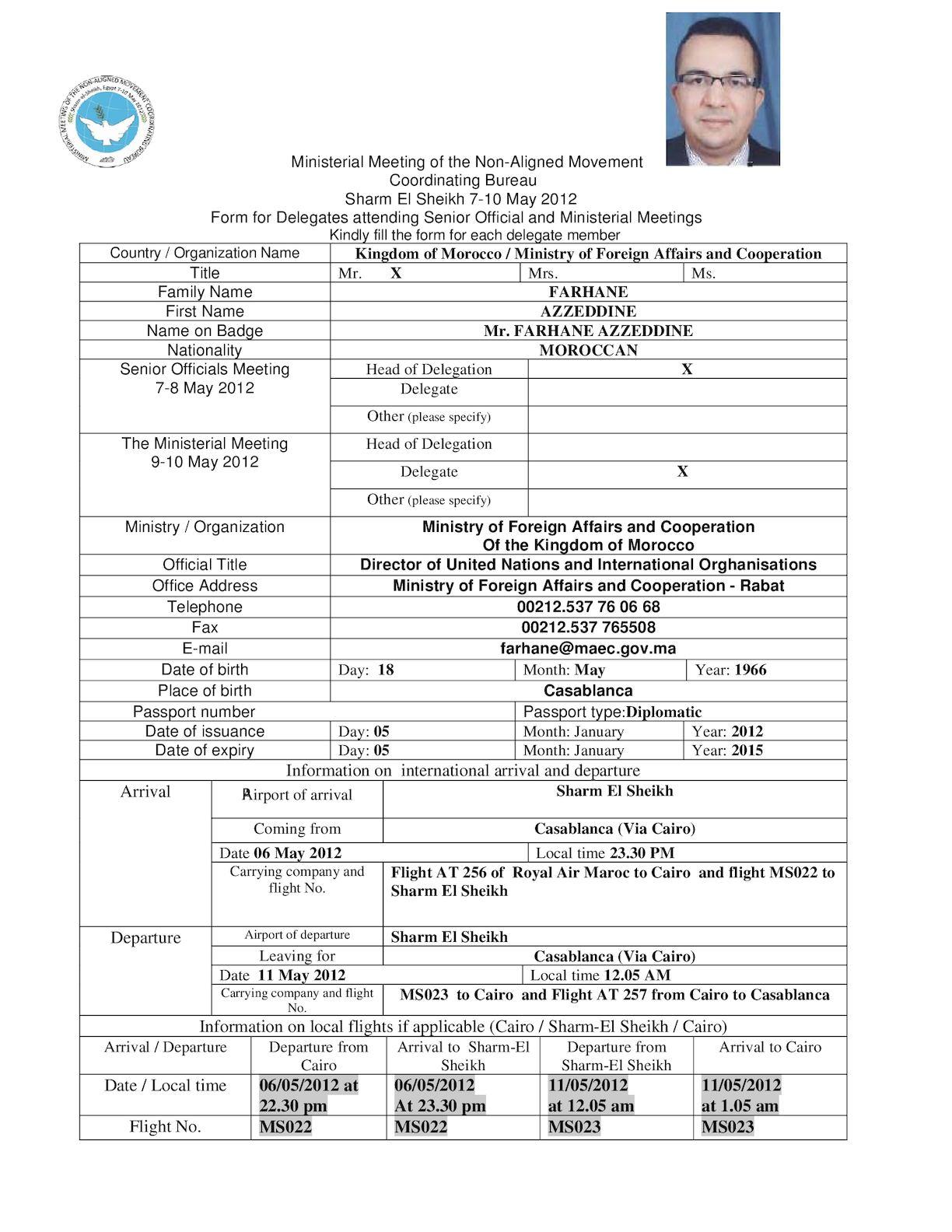 AZZEDDINE FARHANE Registration Form Pdf