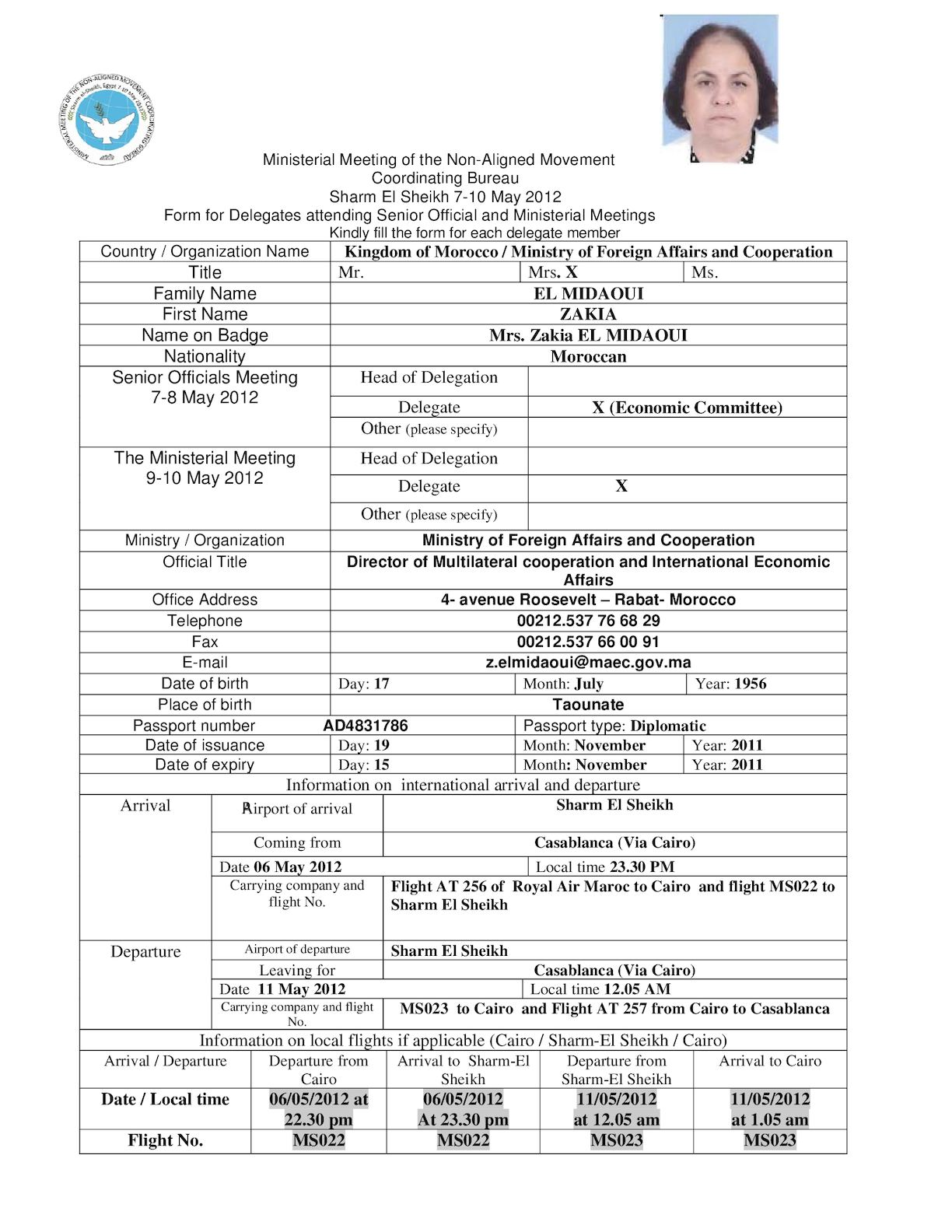 Mrs. Zakia El Midaoui  Registration Form Pdf