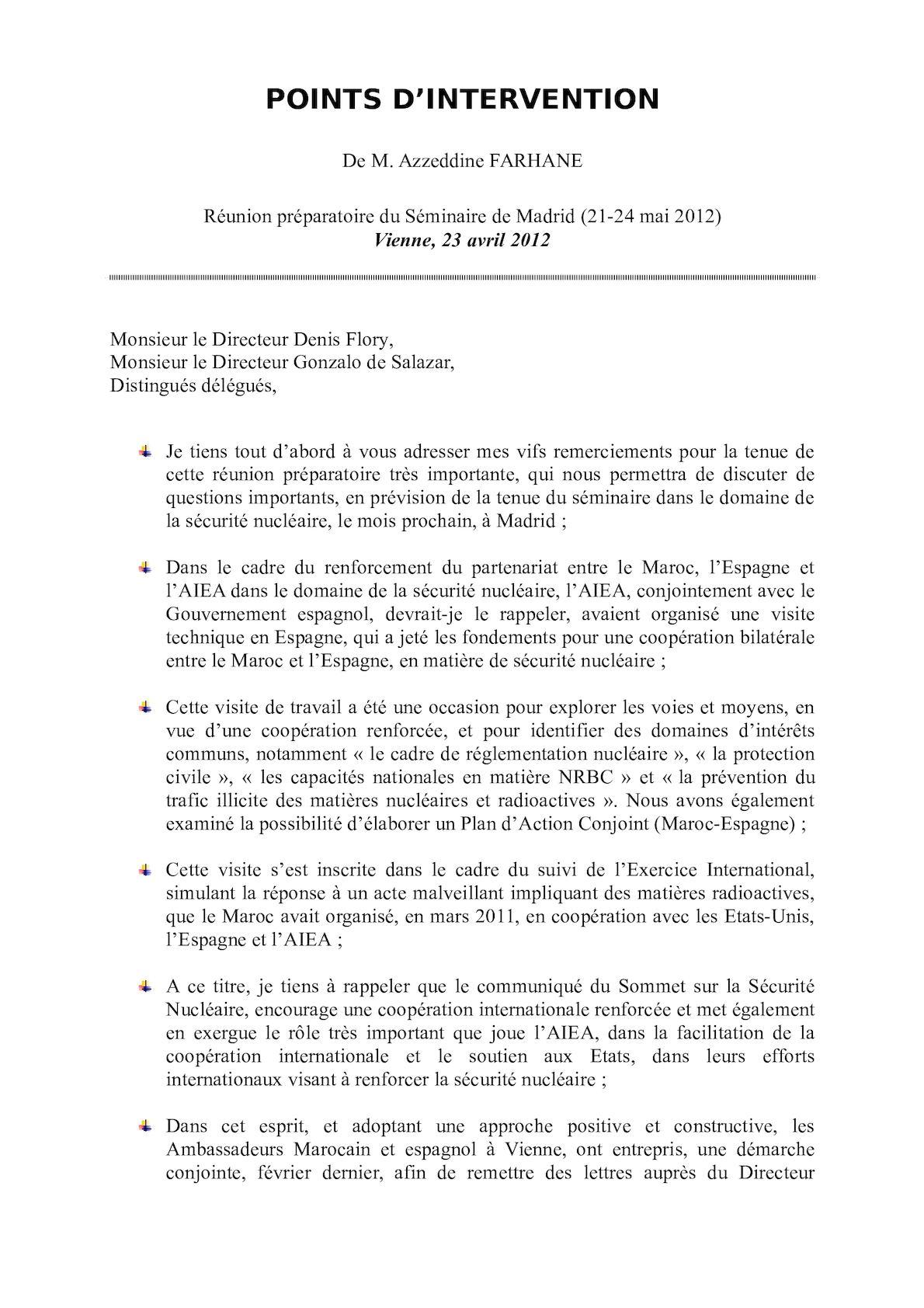 TALKING POINTS - Traduction Non Officielle