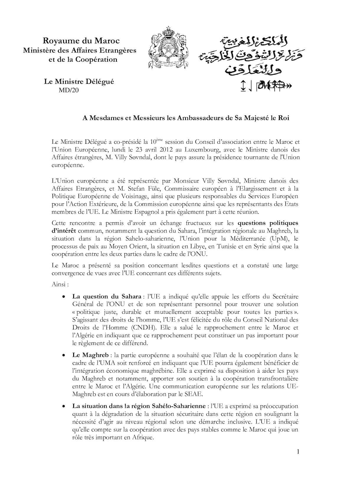 10ème Conseil Dassociation Maroc Ue 1 [1]