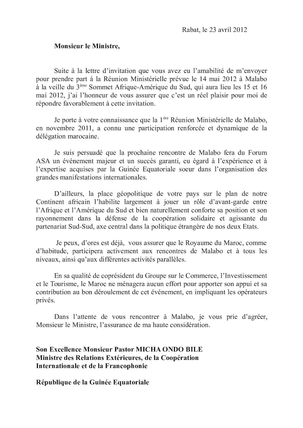 Lettre De Monsieur Le Ministre