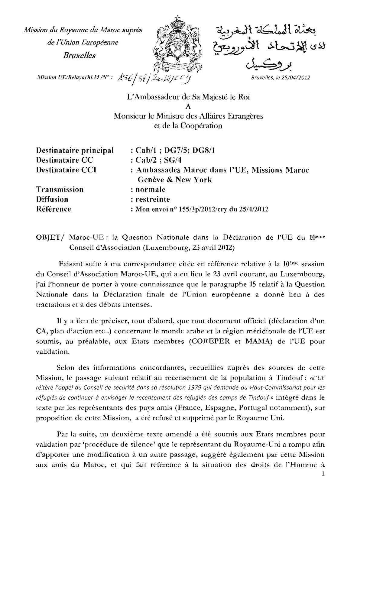 Maroc Ue La Question Nationale Dans La Déclaration Du Conseil 1