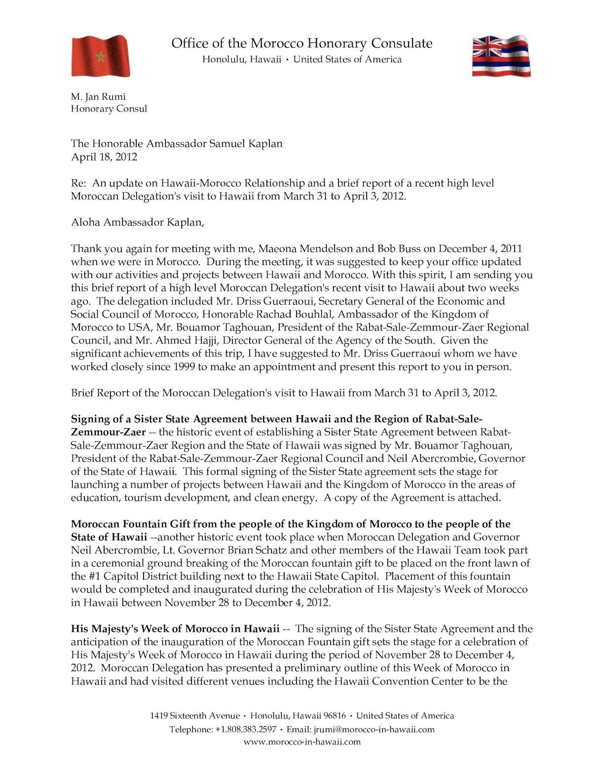 Report To Ambassador Kaplan April 18, 2012