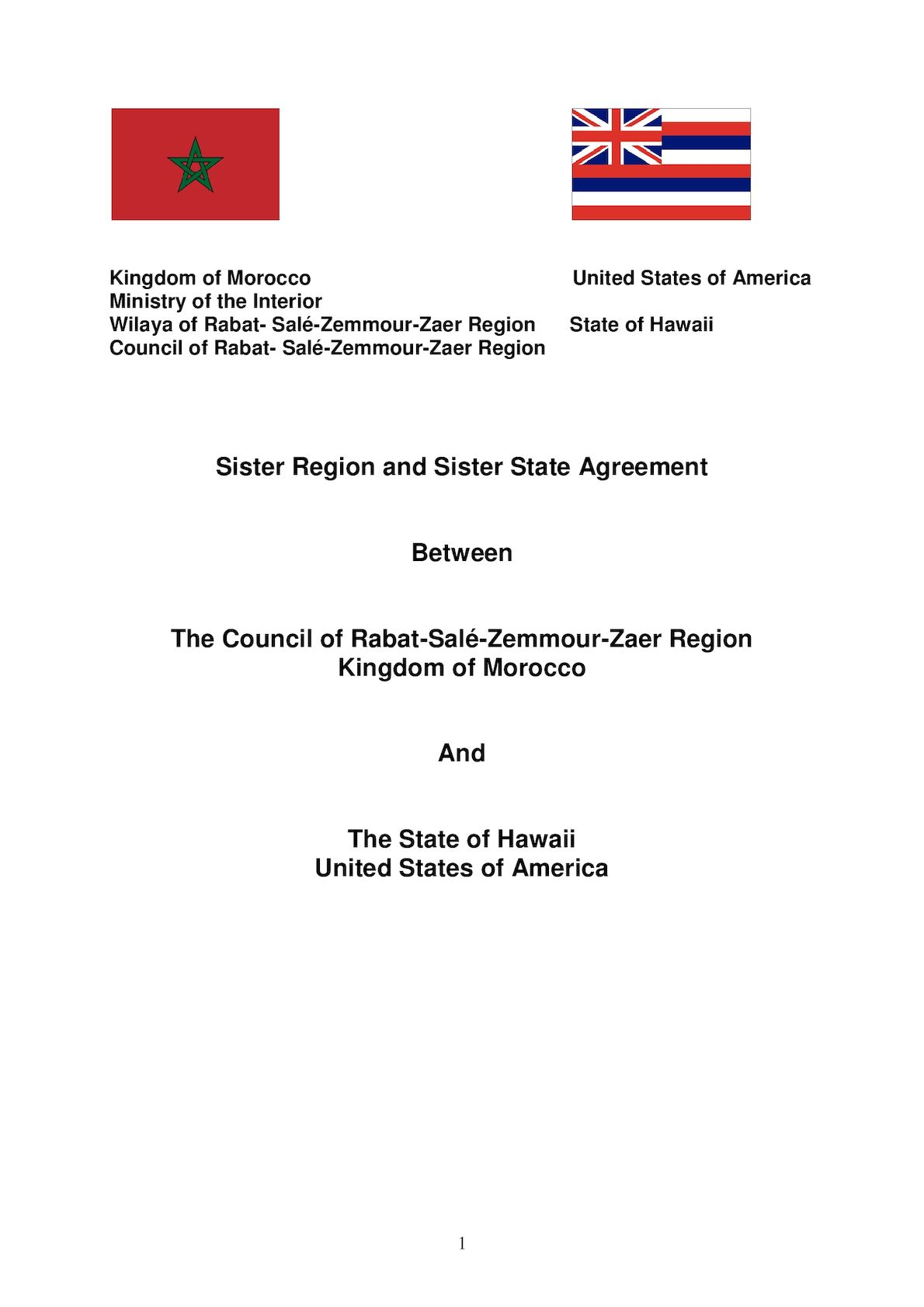 Sister State Agreement Morocco Rabat V2