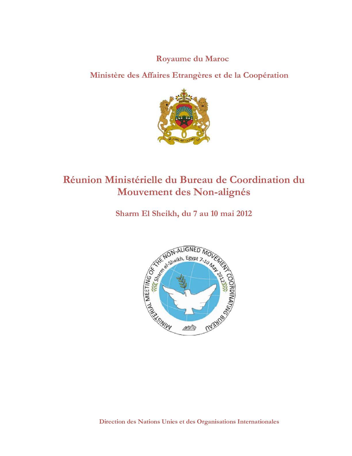 REUNION MINISTERIELLE SHARM ELSHEIKH 2012 RECUEIL EN FRANCAIS 25042012