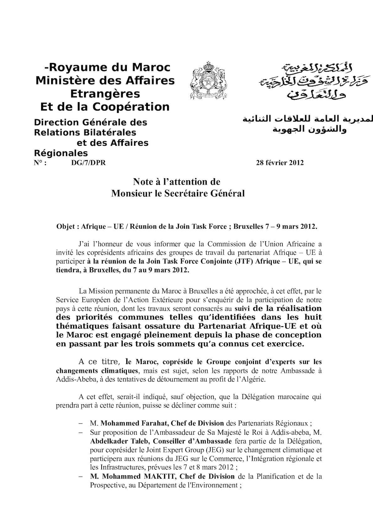 Afrique UE JEGs 7 9 Mars 2012 Note SG