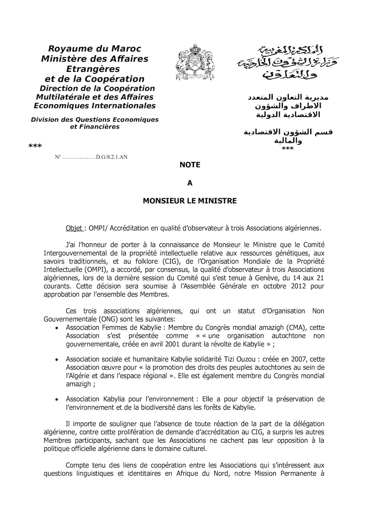 Note Assoc Algeriennes Cig