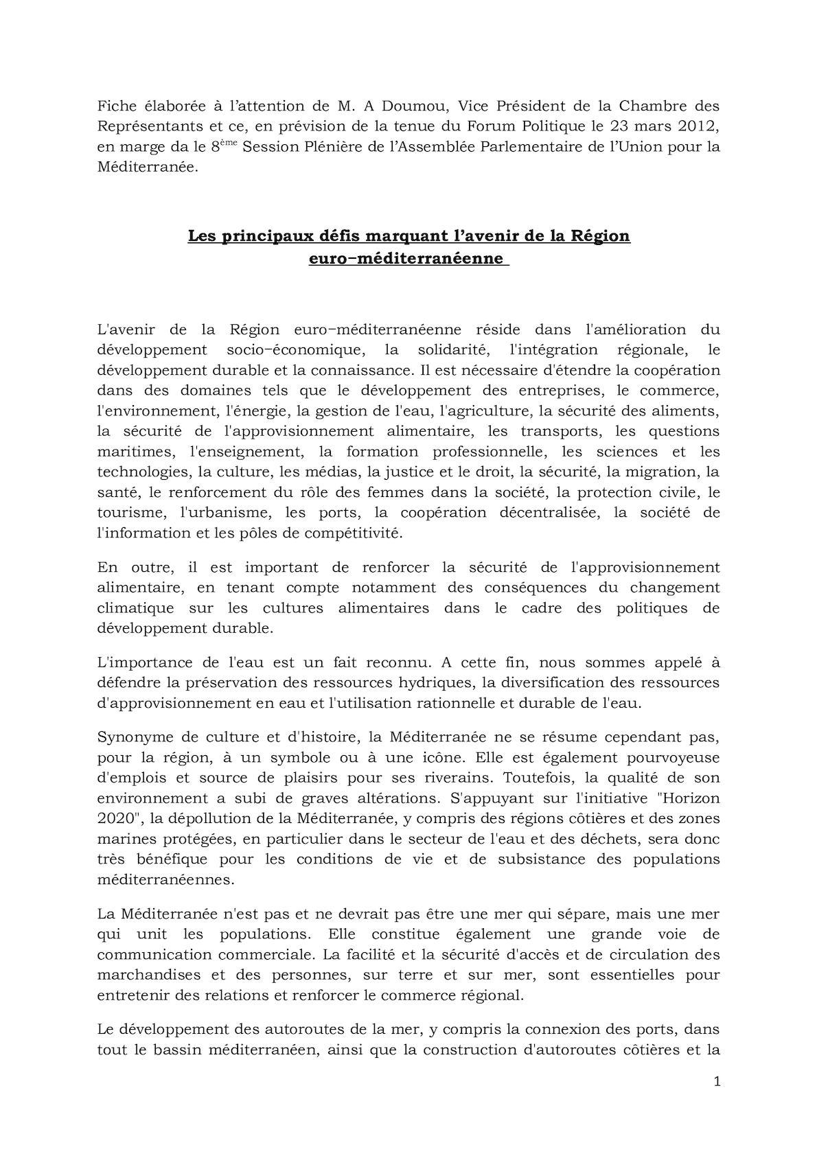 Fiche Défis Euro Mediterranéens Forum Politique