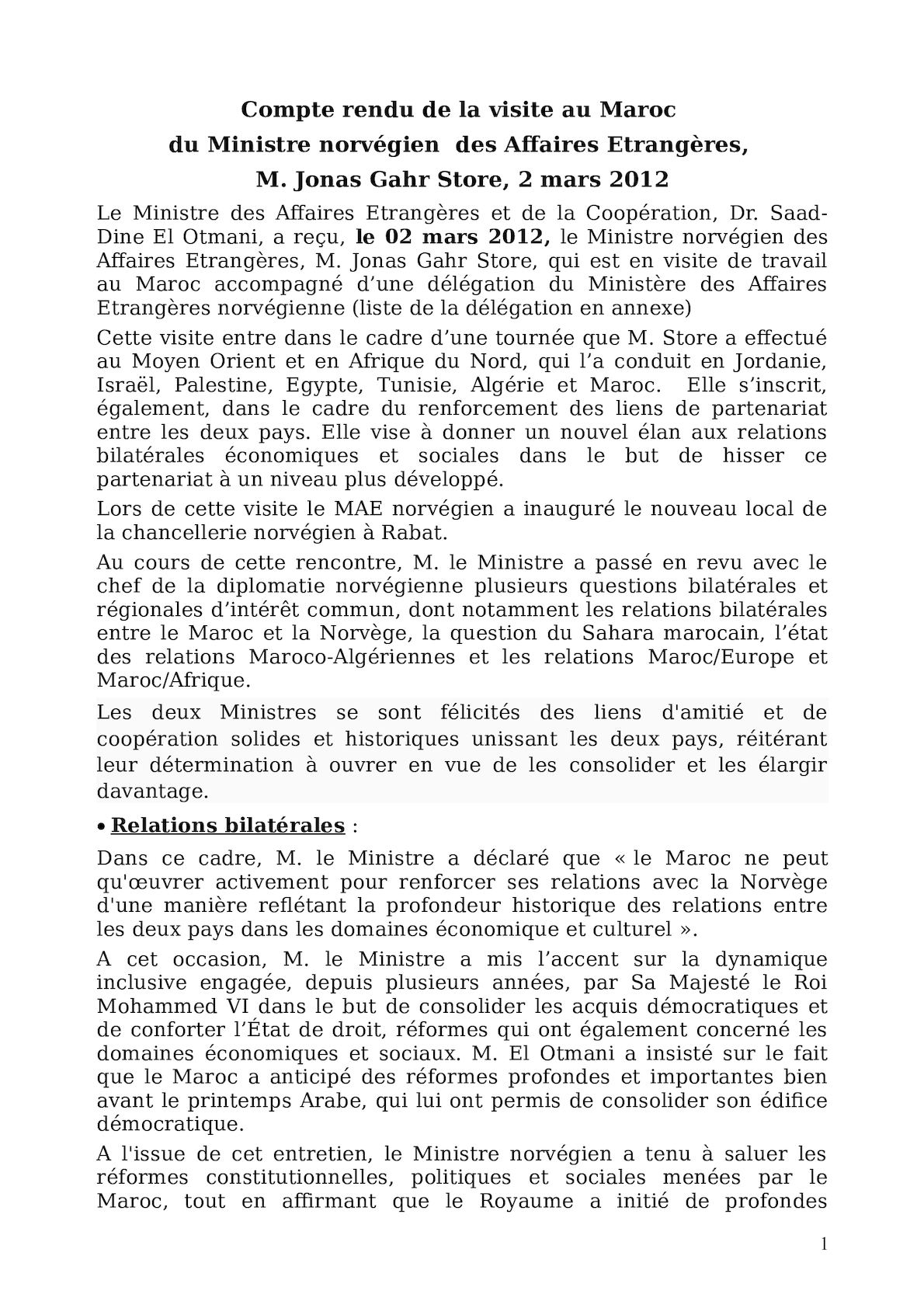 Compte Rendu Viste Maroc Mae Norvegien5mars2012