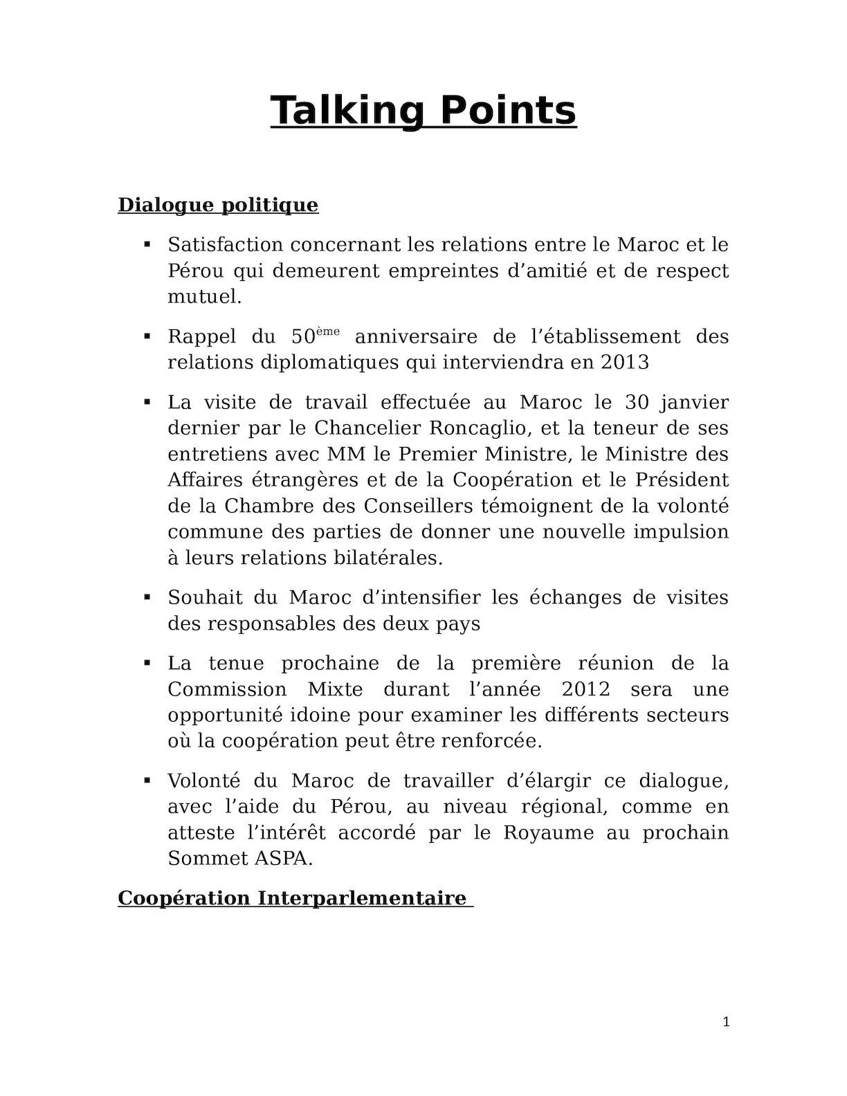 Talking Points Réunion Du 23 02 12