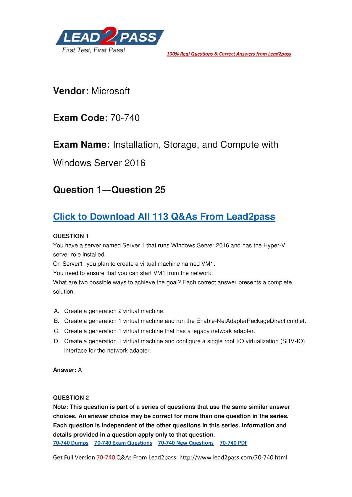 [Full Version] Microsoft Exam 70 740 Pdf Dump Free Download In Lead2pass (1 25)