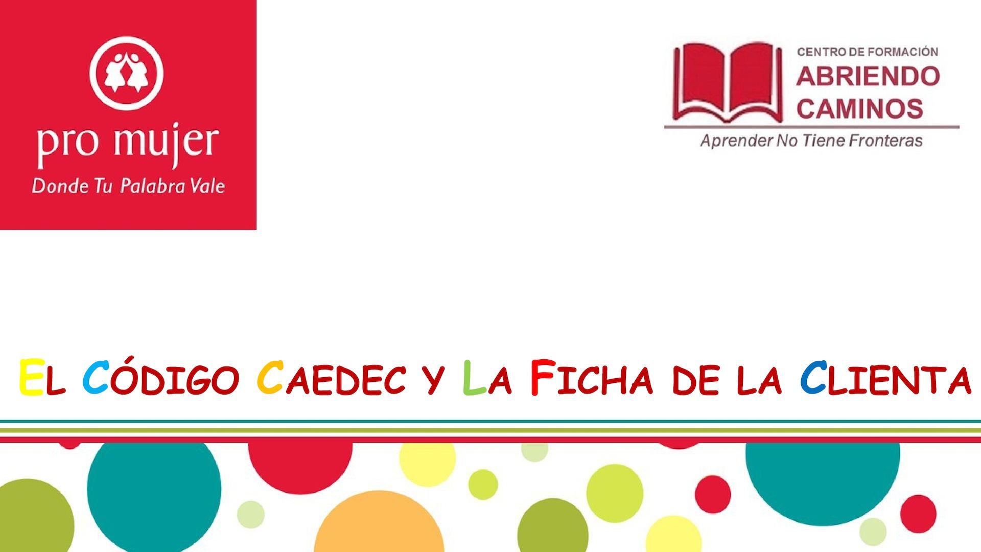 Cc 1 3 Codigo Caedec Y Ficha De Clienta Actual
