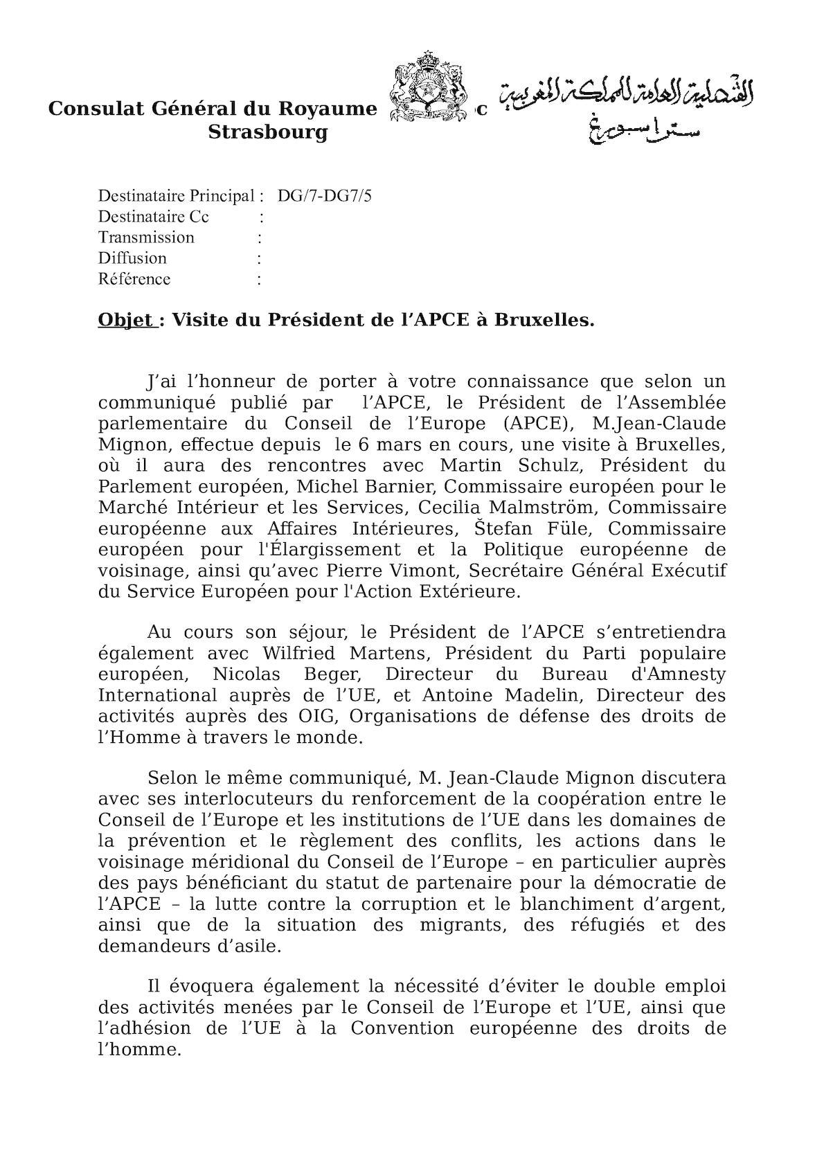 Courrier Visite Du Président De L'APCE A Bruxelles