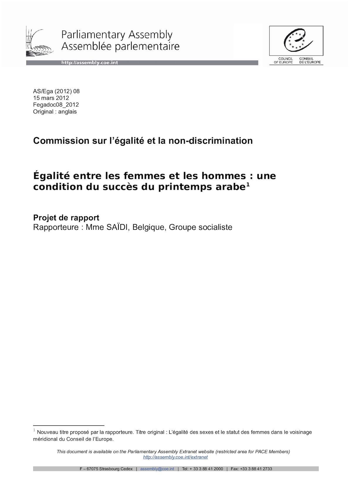 Fegadoc08 2012 - Egalite Entre Les Femmes Et Les Hommes