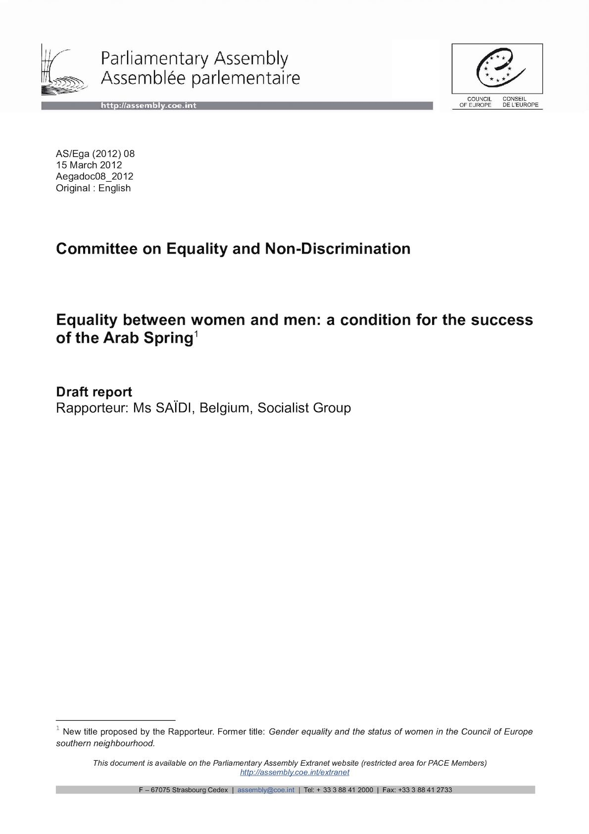Aegadoc08 2012 - Equality Between Men And Women