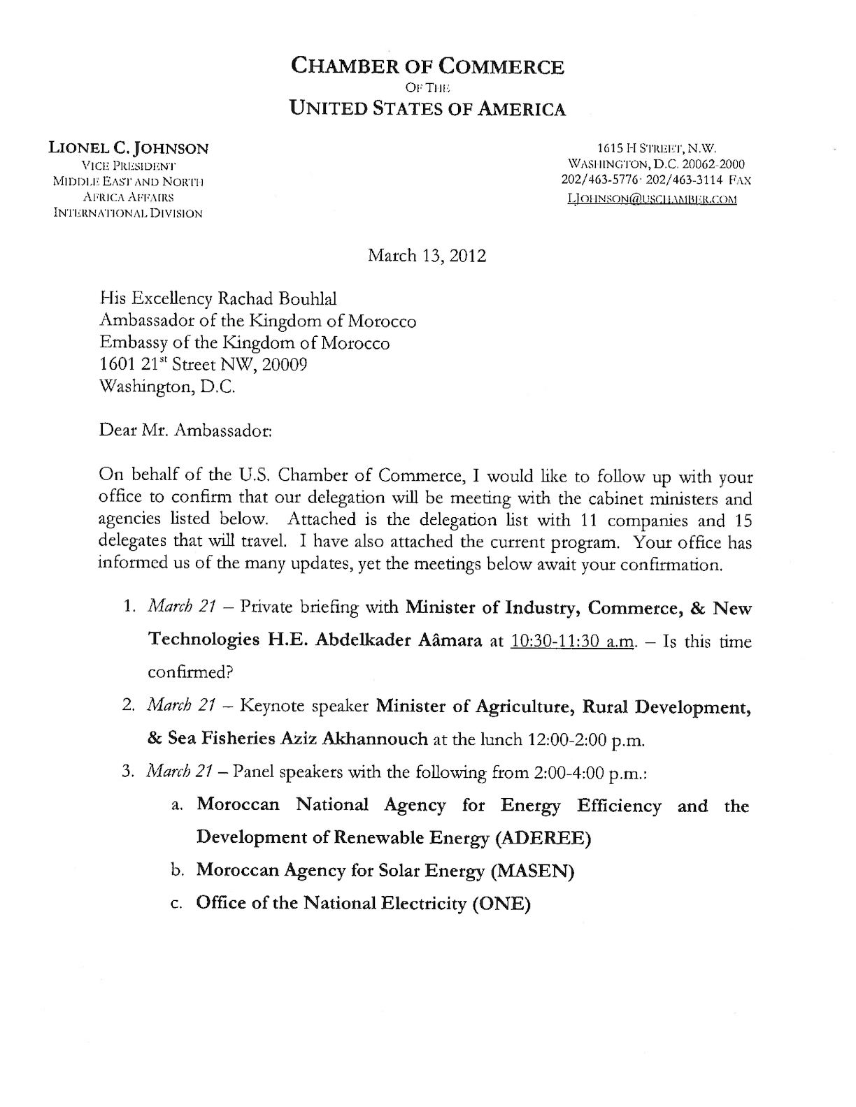 Lionel Johnson Letter To HE Bouhlal - March 13