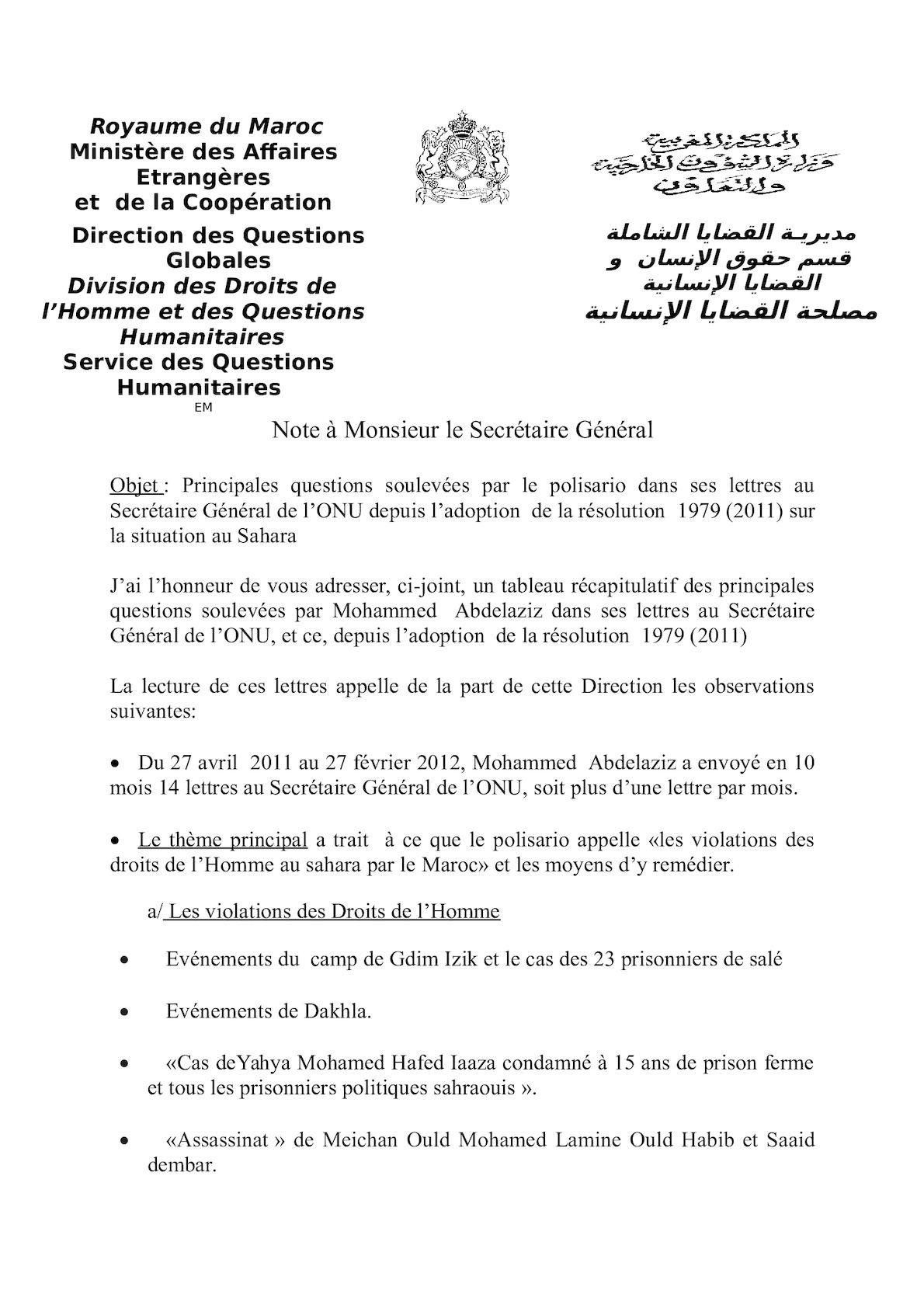 Note1 Lettres Abdelaziz Au Sg De L'onu