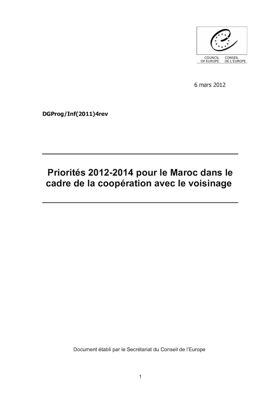 Priorites 2012 2014 Pour Le Maroc Dans Le Cadre De La Cooperation Avec Le Voisinage