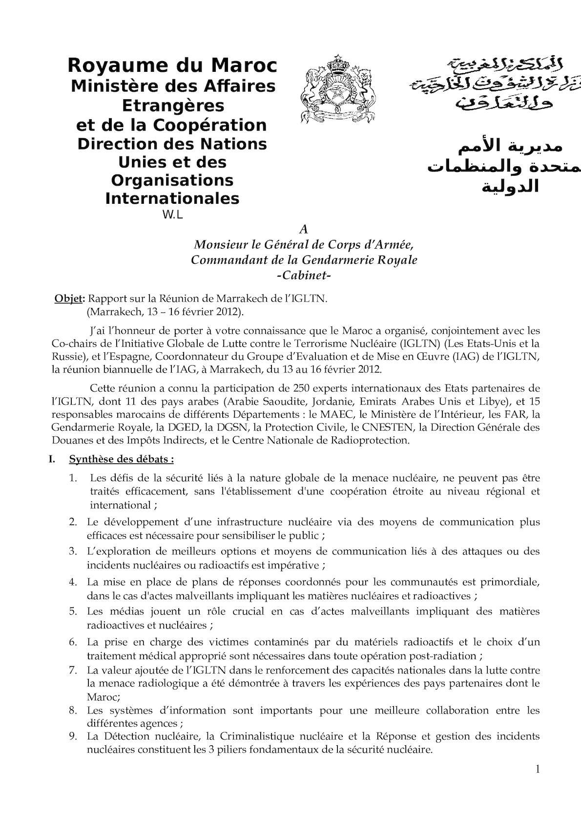 Gendarmerie Royale Rapport De La Réunion De L'iag Marrakech 2012