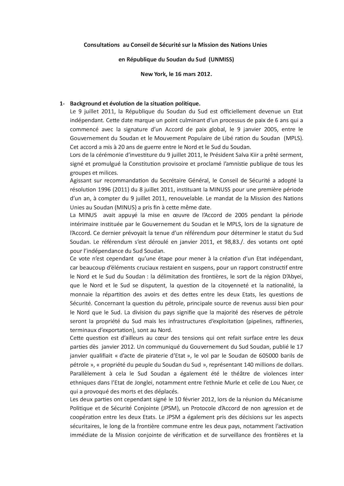 Consultations  Au Conseil De Sécurité Sur La Mission Des Nations Unies