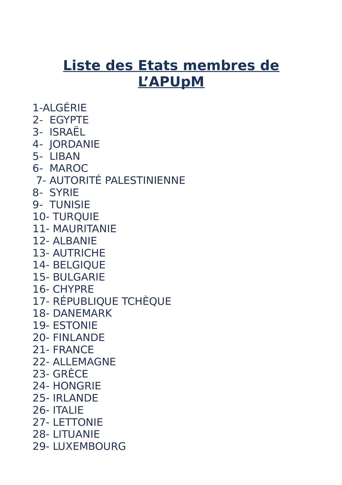Liste Des Etats Membres De LAP UPM