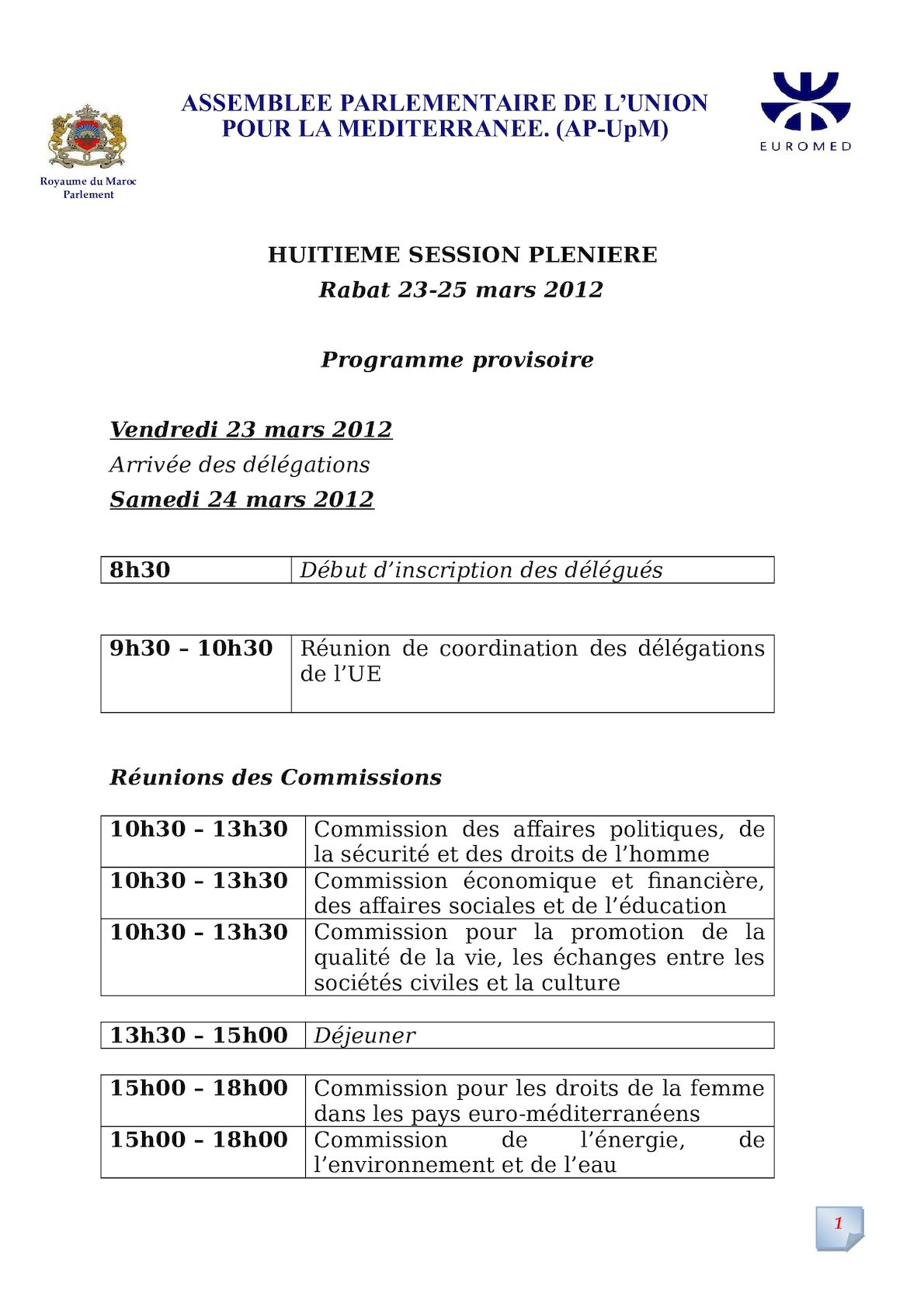Projet De Programme De La 8 Session Plenère  F R