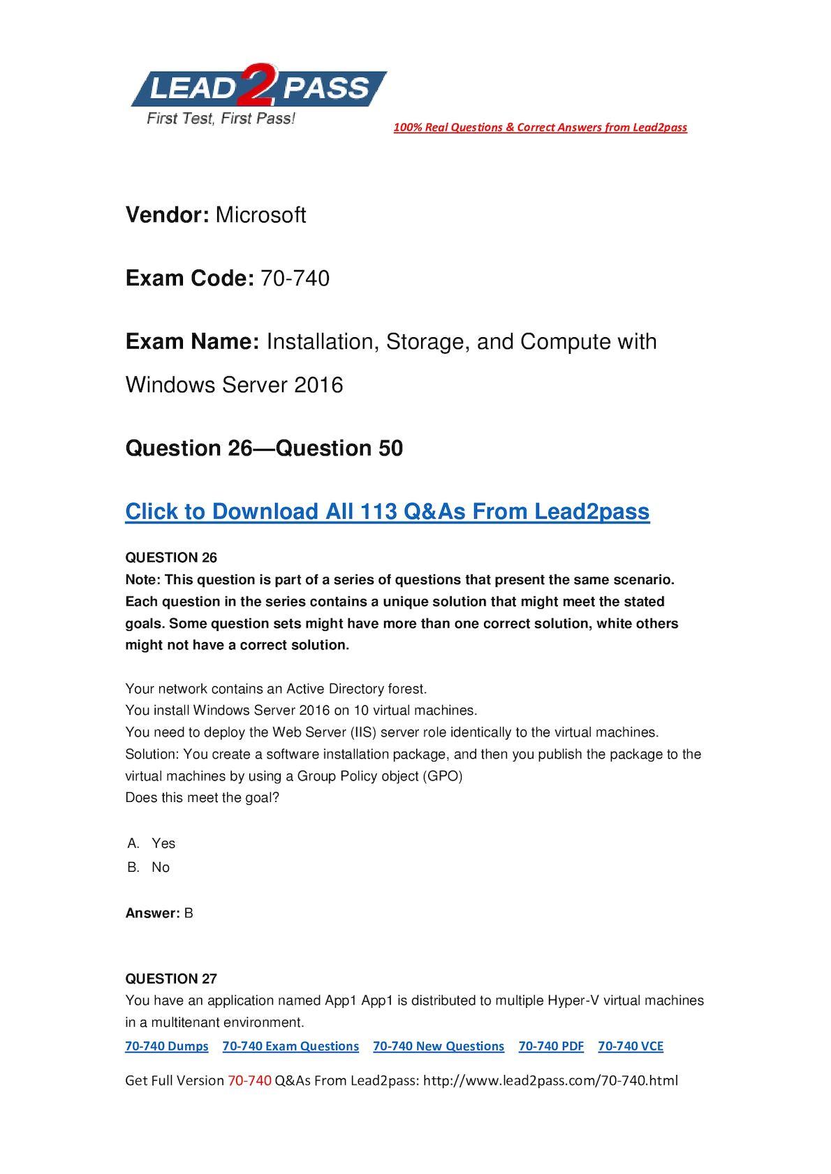 [Full Version] 70-740 PDF Dump Free Download In Lead2pass (26-50)