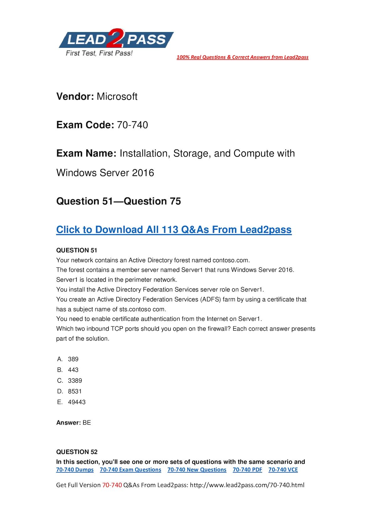 [Full Version] 70-740 New Questions For Passing The 70-740 Certification Exam (51-75)