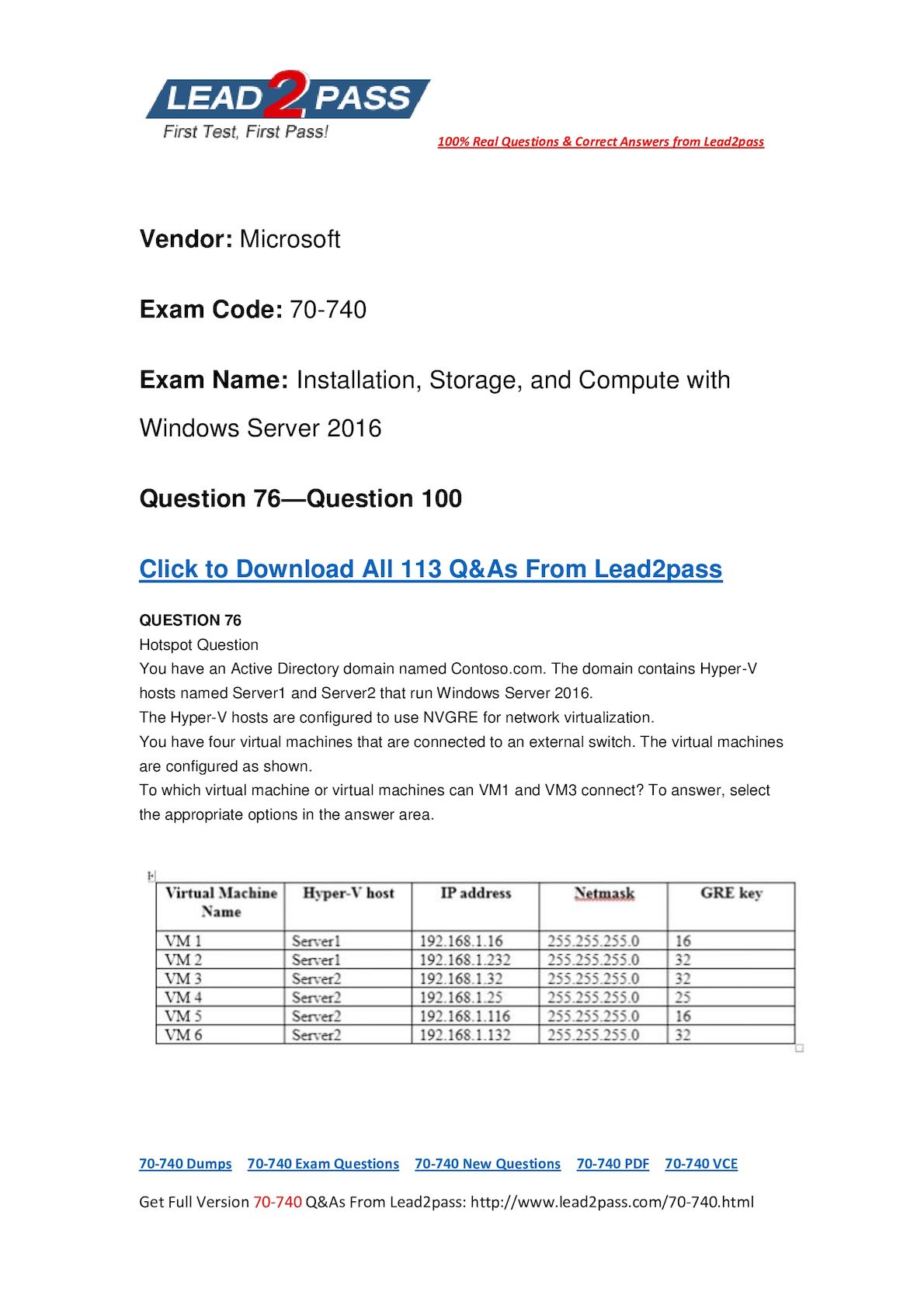 [Full Version] 70-740 VCE Files Free Instant Download (76-100)