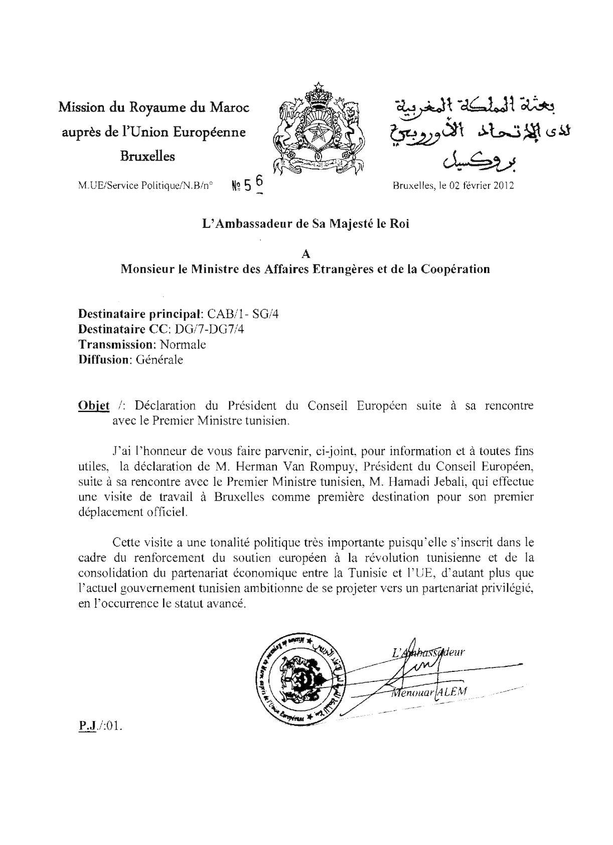 Déclaration Du Président Du CE Suite à Sa Rencontre Avec Le Premier Ministre Tunisien