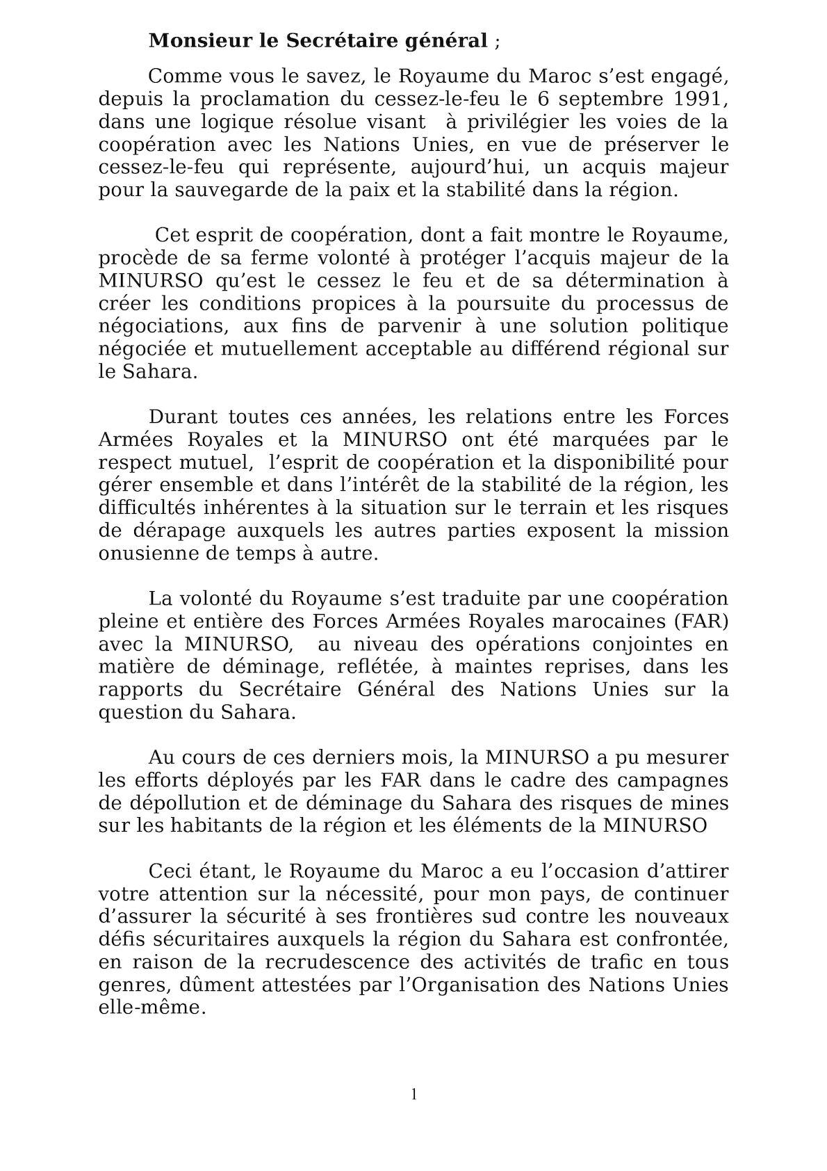 Lettre SG ONU MINURSO Fév 2012